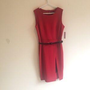 NWT Red  Enfocus Sheath Dress with Cute Black Slit